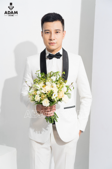 Vest cưới trắng cổ sam
